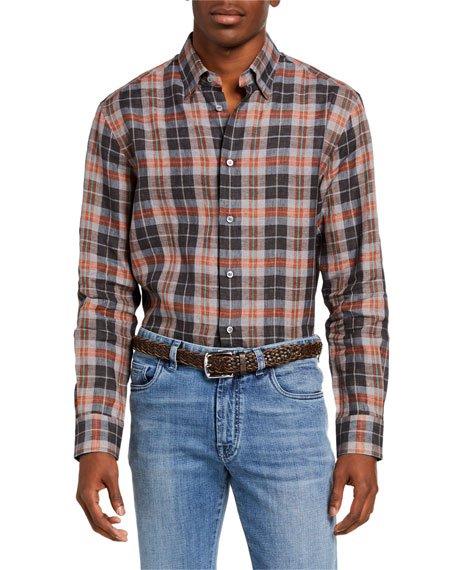 Image 1 of 2: Brioni Men's Madras Plaid Linen Sport Shirt