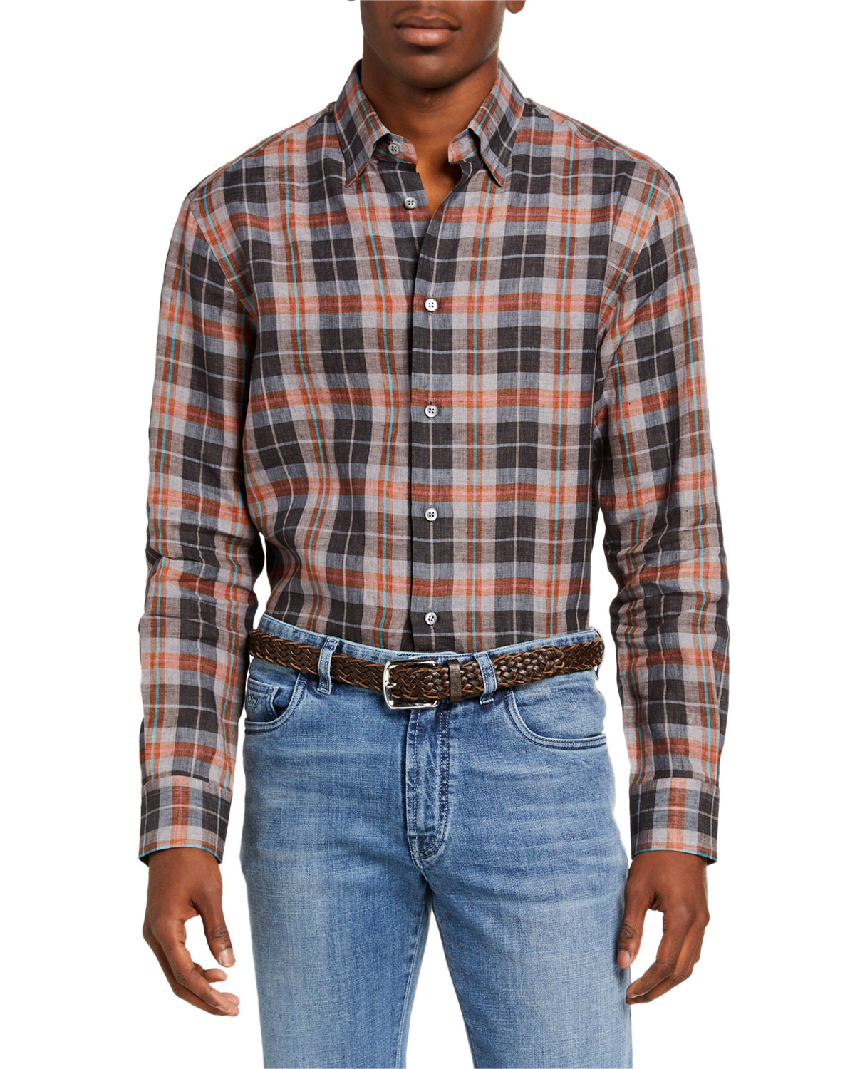 Brioni Men's Madras Plaid Linen Sport Shirt