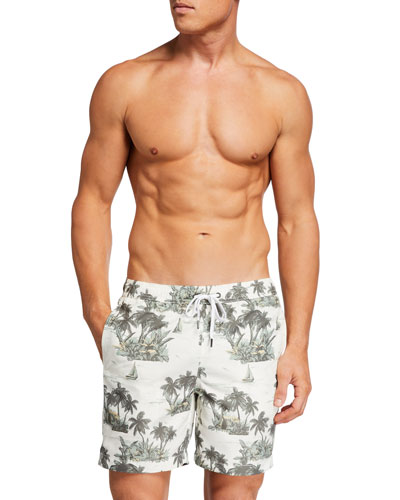 Men's Charles 7 Palm Tree Swim Shorts