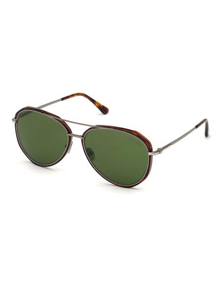 TOM FORD Men's Vittorio Metal Tortoiseshell Aviator Sunglasses