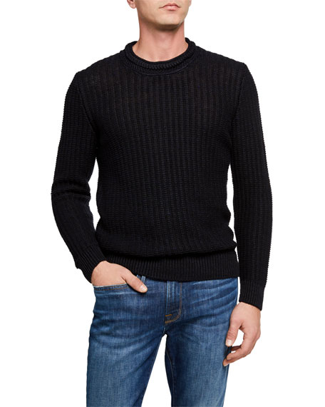 Inis Meain Men's Ribbed-Knit Pullover Sweater