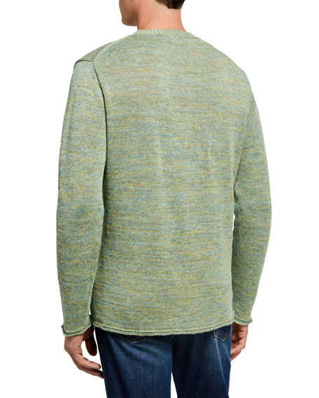 Inis Meain Men's Rolled-Edge Heathered Sweater