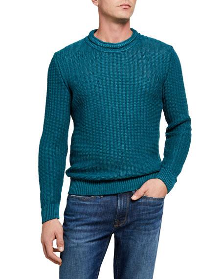 Inis Meain Men's Crewneck Ribbed Sweater