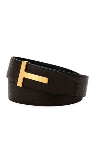 TOM FORD Men's Ridged T-Buckle Leather Belt