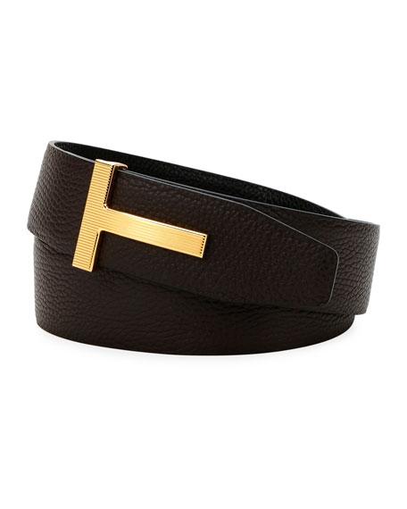 TOM FORD Men's Ridged T-Buckle Leather Belt