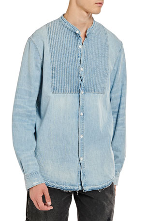 Amiri Men's Chambray Tuxedo Shirt