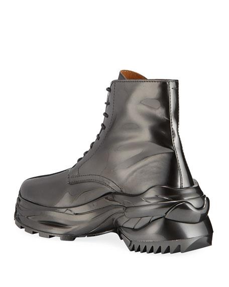Maison Margiela Men's Cross Shiny Faux-Leather Combat Boots
