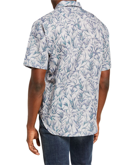 Brioni Men's Floral Linen-Cotton Sport Shirt