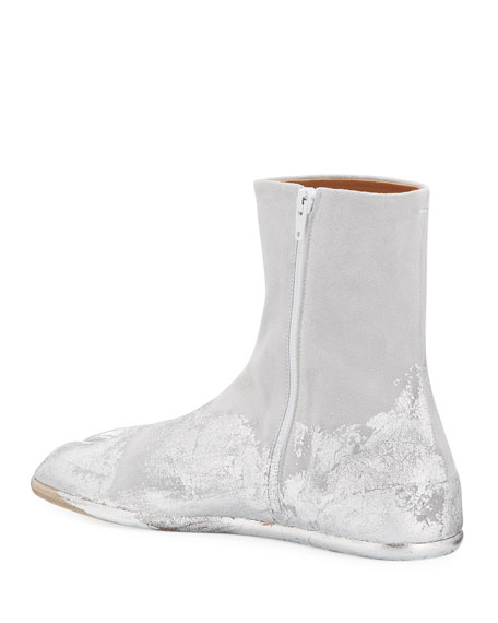 Maison Margiela Men's Tank Metallic Split-Toe Ankle Boots