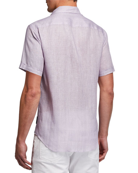 Image 2 of 2: Emporio Armani Men's Micro-Box Linen Short-Sleeve Sport Shirt