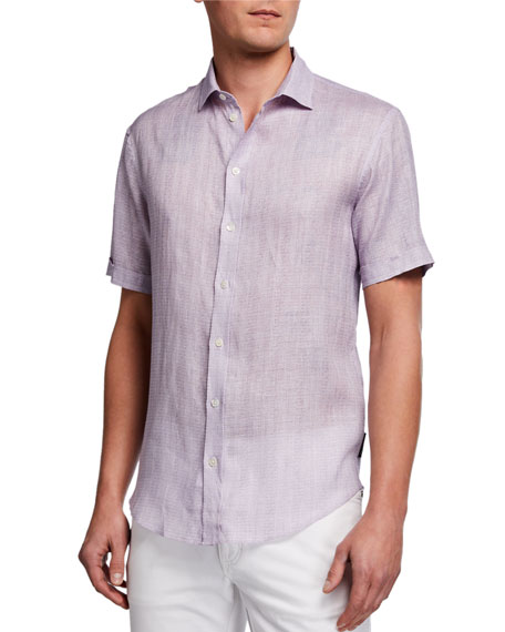 Image 1 of 2: Emporio Armani Men's Micro-Box Linen Short-Sleeve Sport Shirt