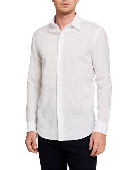 Emporio Armani Men's Textured Cotton Sport Shirt