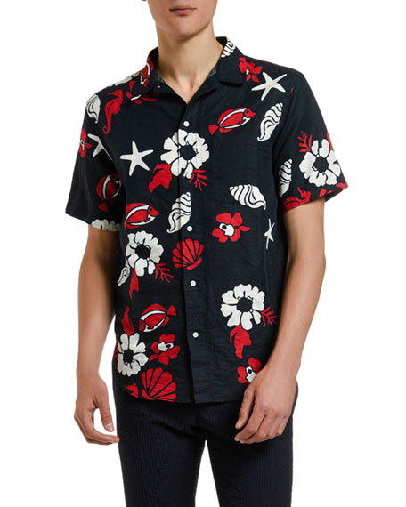 Thom Browne Men's Floral-Print Straight-Fit Short-Sleeve Sport Shirt