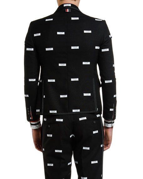 Thom Browne Men's Logo-Label Fresco Sport Jacket w/ Tipping