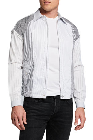 Alexander McQueen Men's Pieced Stripe Shirting Bomber Jacket