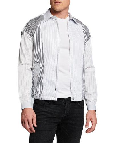Men's Pieced Stripe Shirting Bomber Jacket
