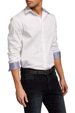 Emporio Armani Men's Solid Contrast-Reverse Neat Sport Shirt