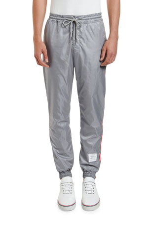 Thom Browne Men's Ripstop Track Pants with Side Stripes