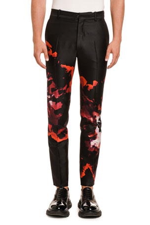 Alexander McQueen Men's Tie-Dye Satin Trousers