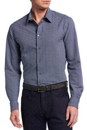Giorgio Armani Men's Printed Fancy Seersucker Sport Shirt