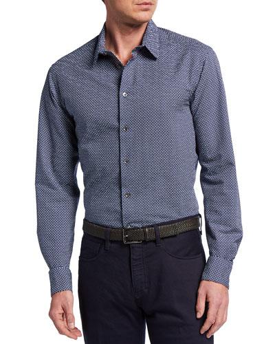 Men's Printed Fancy Seersucker Sport Shirt