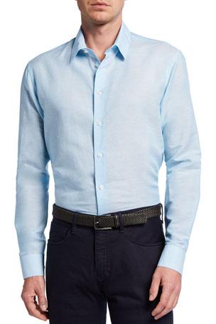 Giorgio Armani Men's Micro-Stripe Linen Sport Shirt
