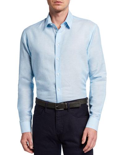 Men's Micro-Stripe Linen Sport Shirt