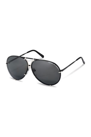 Porsche Design Men's Titanium Interchangeable-Lens Aviator Sunglasses