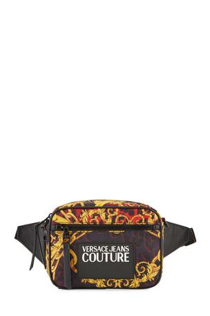 Versace Jeans Couture Men's Baroque-Print Logo Belt Bag