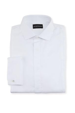Emporio Armani Men's Solid Hidden-Button Tuxedo Shirt