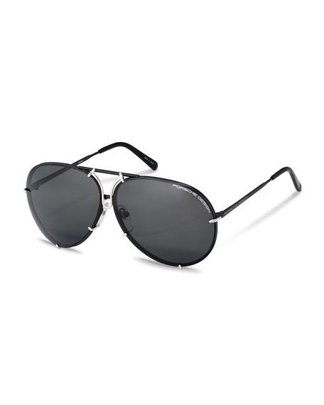 Porsche Design Men's Titanium Interchangeable-Lens Aviator Sunglasses