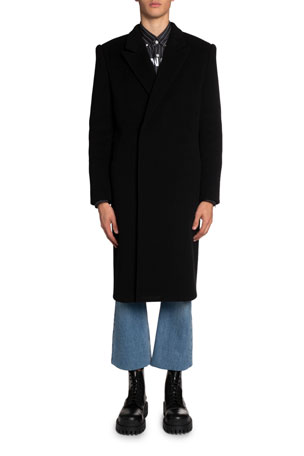 Balenciaga Men's Brushed Felted Wool Slim Coat