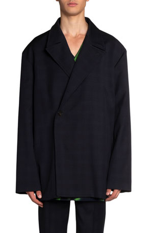 Balenciaga Men's Oversized Satin-Trim Wool Jacket