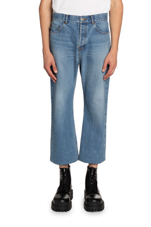 Balenciaga Men's Cropped Straight-Leg Jeans