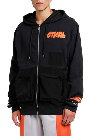 Heron Preston CTNMB Spray Paint Zip-Front Hoodie