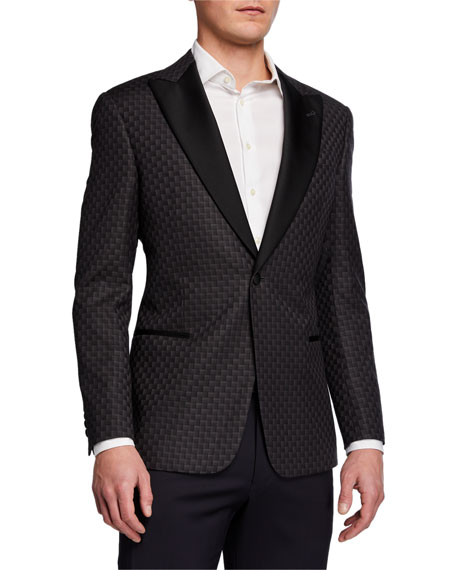 Emporio Armani Men's Geo-Pattern Wool Dinner Jacket