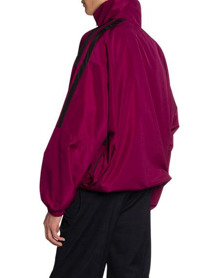 Balenciaga Men's Technical Micro-Faille Logo Jacket
