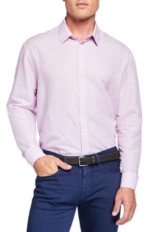 Giorgio Armani Men's Micro-Stripe Linen-Cotton Sport Shirt