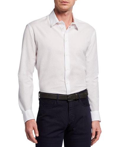 Men's Exclusive Solid Seersucker Sport Shirt