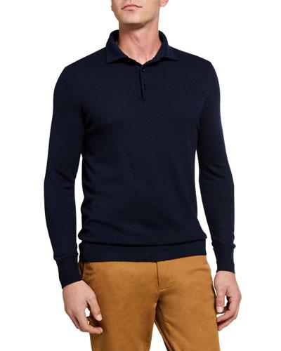 Superlight Baby Cashmere Long-Sleeve Polo Shirt, Susina