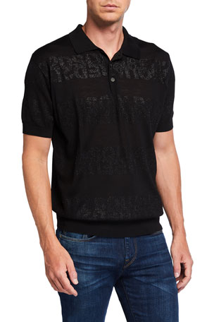 Dsquared2 Men's Metallic Logo Stripe Polo Shirt