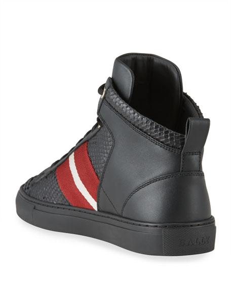 Bally Men's Hedern Trainspotting Croc-Embossed High-Top Sneakers