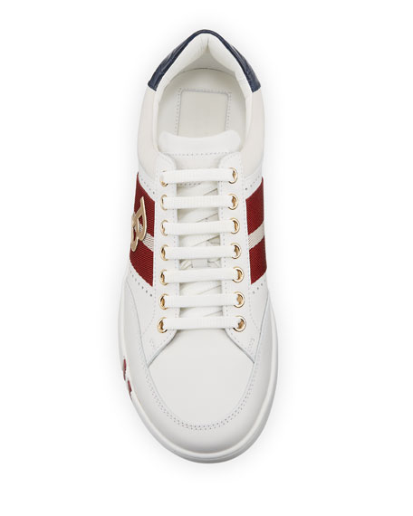 Image 2 of 4: Bally Men's Trainspotting Leather Croc-Trim Sneakers