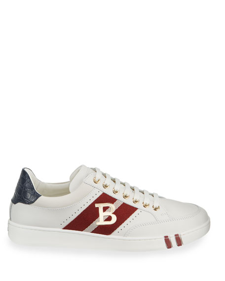 Image 3 of 4: Bally Men's Trainspotting Leather Croc-Trim Sneakers