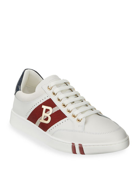 Image 1 of 4: Bally Men's Trainspotting Leather Croc-Trim Sneakers