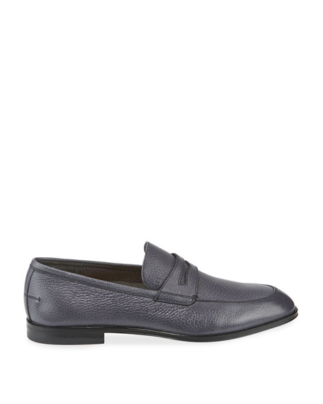Image 3 of 4: Bally Men's Webb Deer Leather Penny Loafers