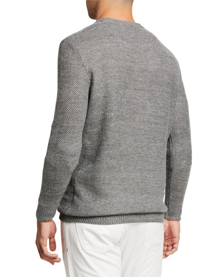 Image 2 of 2: Isaia Men's Linen-Wool Knit Sweater