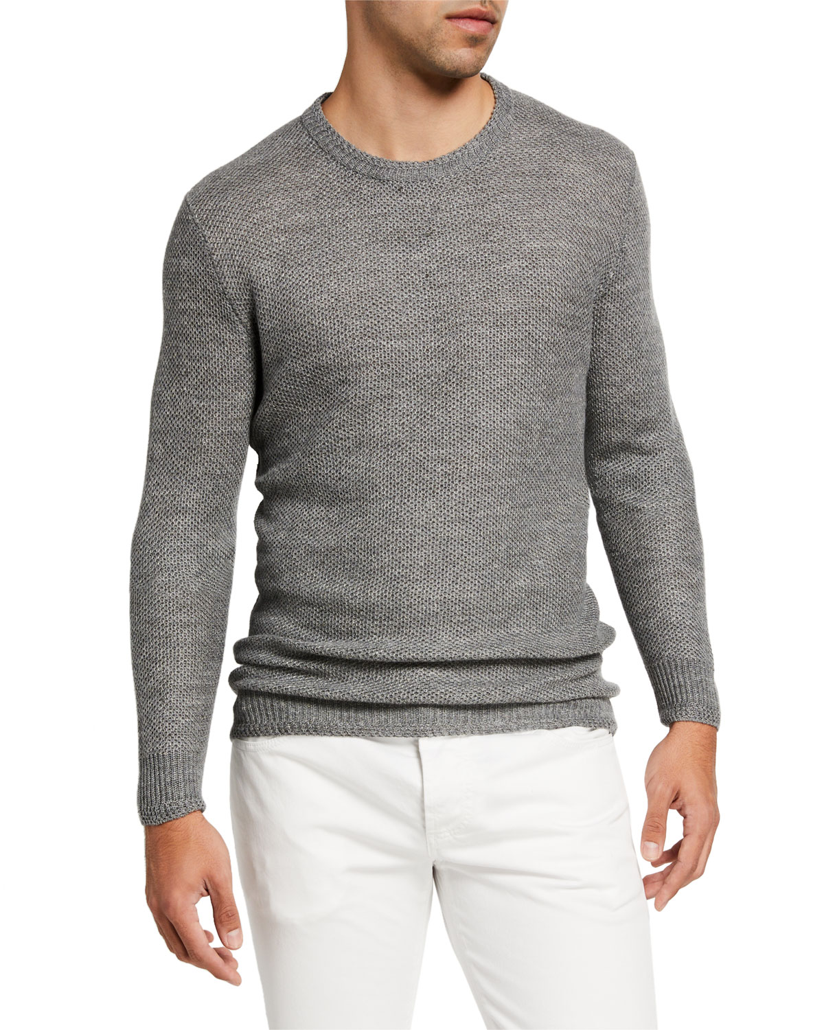 Isaia Men's Linen-Wool Knit Sweater