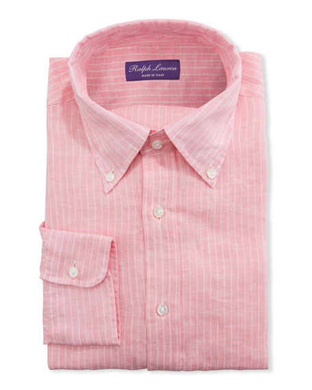Image 1 of 2: Ralph Lauren Purple Label Men's Striped Linen Dress Shirt
