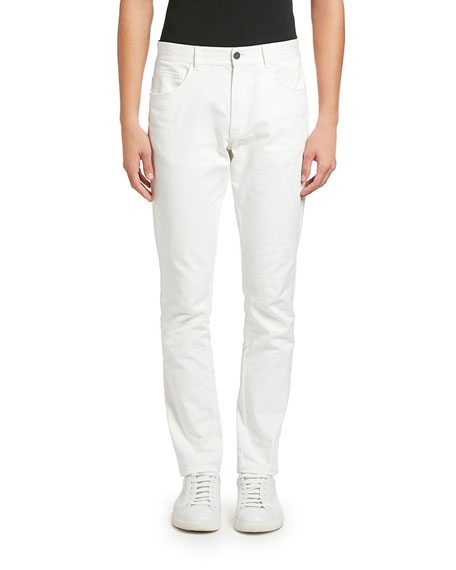 Image 1 of 2: Moncler Men's White-Wash Basic Jeans